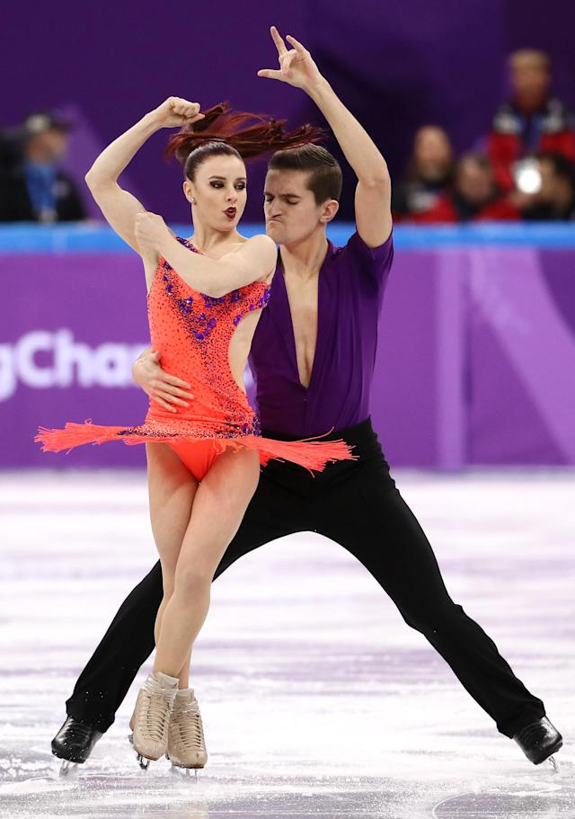 <p>Marie-Jade Lauriault and Romain Le Gac of France compete in the Figure Skating Team Event – Ice Dance – Short Dance on day two of the PyeongChang 2018 Winter Olympic Games at Gangneung Ice Arena on February 11, 2018 in Gangneung, South Korea. (Photo by Jamie Squire/Getty Images) </p>