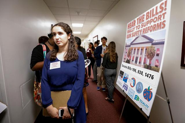 <p>Florence Yared, 17, a junior at Marjory Stoneman Douglas High School, waits in a hallway to speak with Florida state legislators about legislation that could prevent future tragedies, following last week's mass shooting on their campus, in Tallahassee, Fla., Feb. 20, 2018. (Photo: Colin Hackley/Reuters) </p>