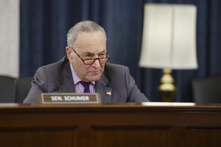 """Senate Majority Leader Chuck Schumer, D-N.Y., listens as the Senate Rules Committee holds a hearing on the """"For the People Act,"""" which would expand access to voting and other voting reforms, at the Capitol in Washington, Wednesday, March 24, 2021. The bill has already passed in the House. (AP Photo/J. Scott Applewhite)"""