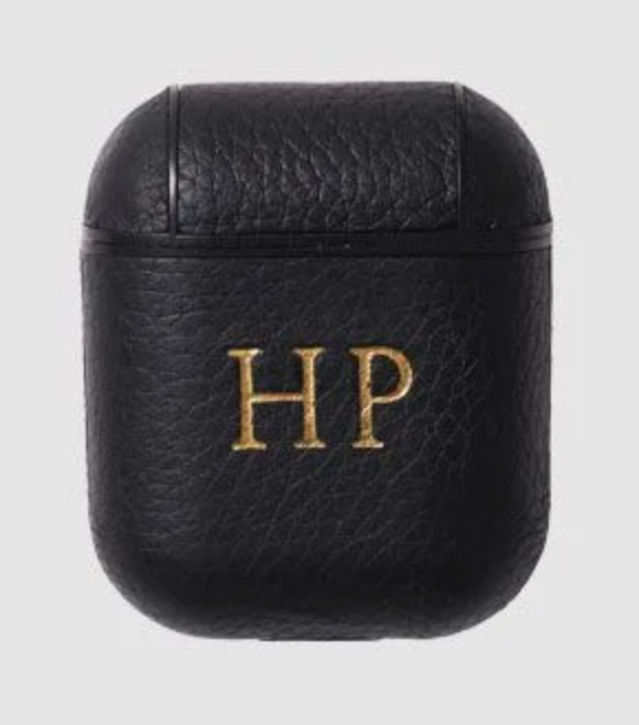 The Daily Edited Black Pebbled AirPod Case