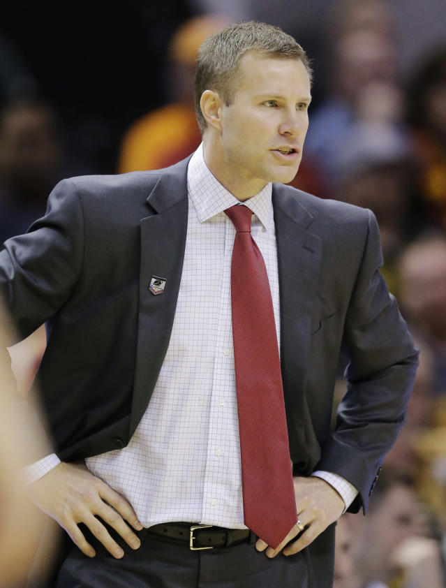 Iowa State head coach Fred Hoiberg watches from the sideline against North Carolina Central during the first half of a second-round game in the NCAA college basketball tournament Friday, March 21, 2014, in San Antonio. (AP Photo/Eric Gay)