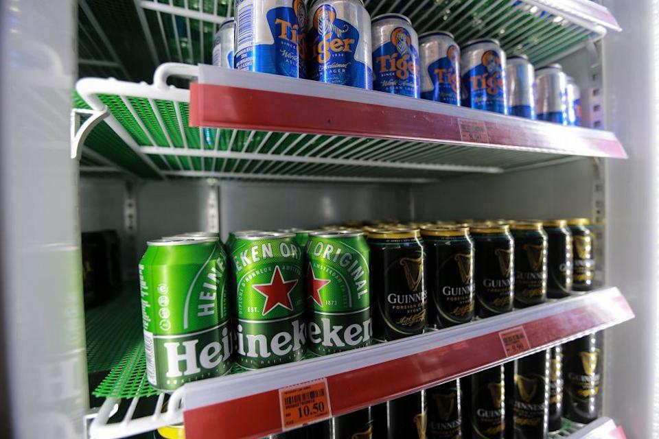 Beer for sale at a convenience store in Petaling Jaya March 25, 2020. — Picture by Ahmad Zamzahuri