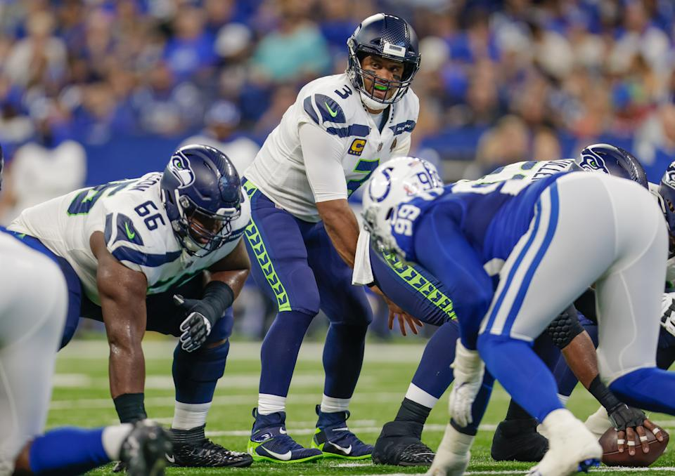 Russell Wilson #3 of the Seattle Seahawks is seen during the game against the Indianapolis Colts