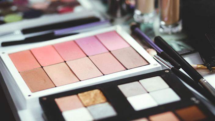 Palettes of eye shadow makeup