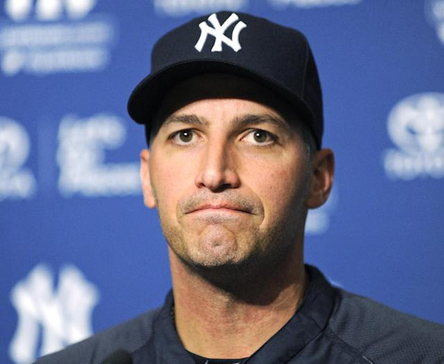 New York Yankees pitcher Andy Pettitte talks to reporters regarding his decision to retire at the end of the season, before the Yankees' baseball game against the San Francisco Giants on Friday, Sept. 20, 2013, at Yankee Stadium in New York. (AP Photo/Bill Kostroun)