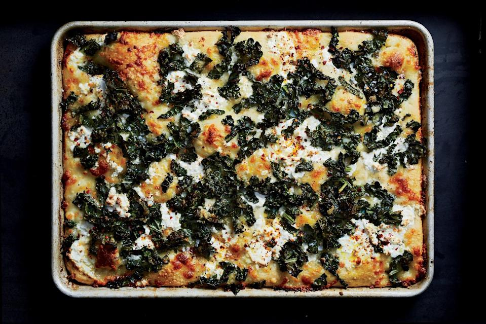 """Feel free to substitute other types of kale, such as curly or Red Russian, but make sure to pre-dress and massage the leaves as noted in the recipe. <a href=""""https://www.bonappetit.com/recipe/spicy-tuscan-kale-and-ricotta-grandma-pie?mbid=synd_yahoo_rss"""" rel=""""nofollow noopener"""" target=""""_blank"""" data-ylk=""""slk:See recipe."""" class=""""link rapid-noclick-resp"""">See recipe.</a>"""