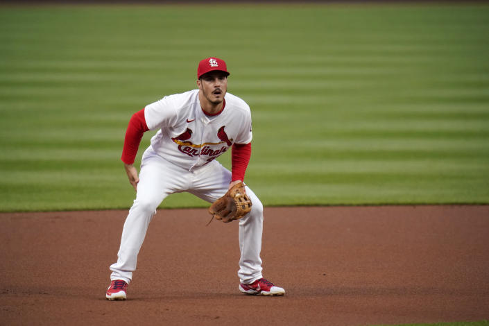 St. Louis Cardinals third baseman Nolan Arenado takes up his position during the first inning of a baseball game against the Colorado Rockies Friday, May 7, 2021, in St. Louis. (AP Photo/Jeff Roberson)