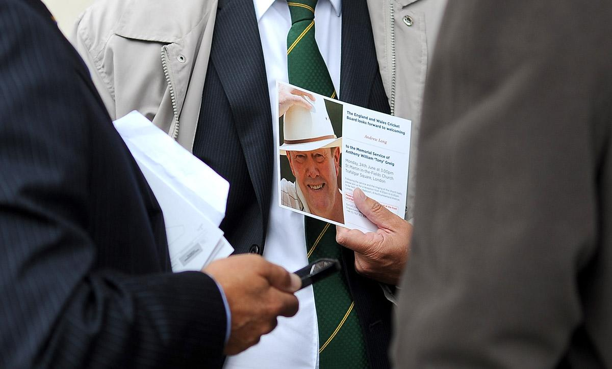 LONDON, ENGLAND - JUNE 24:  Memorial service invites are held during the Memorial Service for former Cricketer Tony Greig on June 24, 2013 in London, England. (Photo by Charlie Crowhurst/Getty Images)