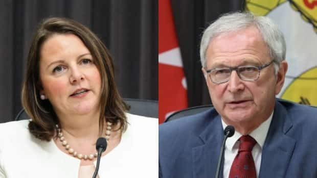Dr. Jennifer Russell and Premier Blaine Higgs addressed the public Wednesday afternoon. (Government of New Brunswick - image credit)