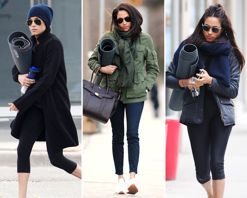 Markle, especially as of late, is almost never captured by the paparazzi (who now tail her at all times) without a yoga mat cradled in her arm.