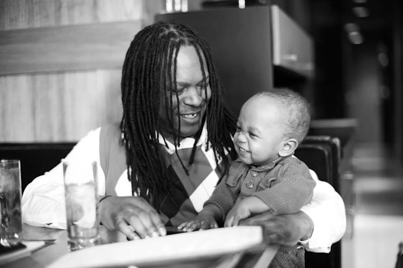 Shaka with his son.  (Courtesy of Shaka Senghor)