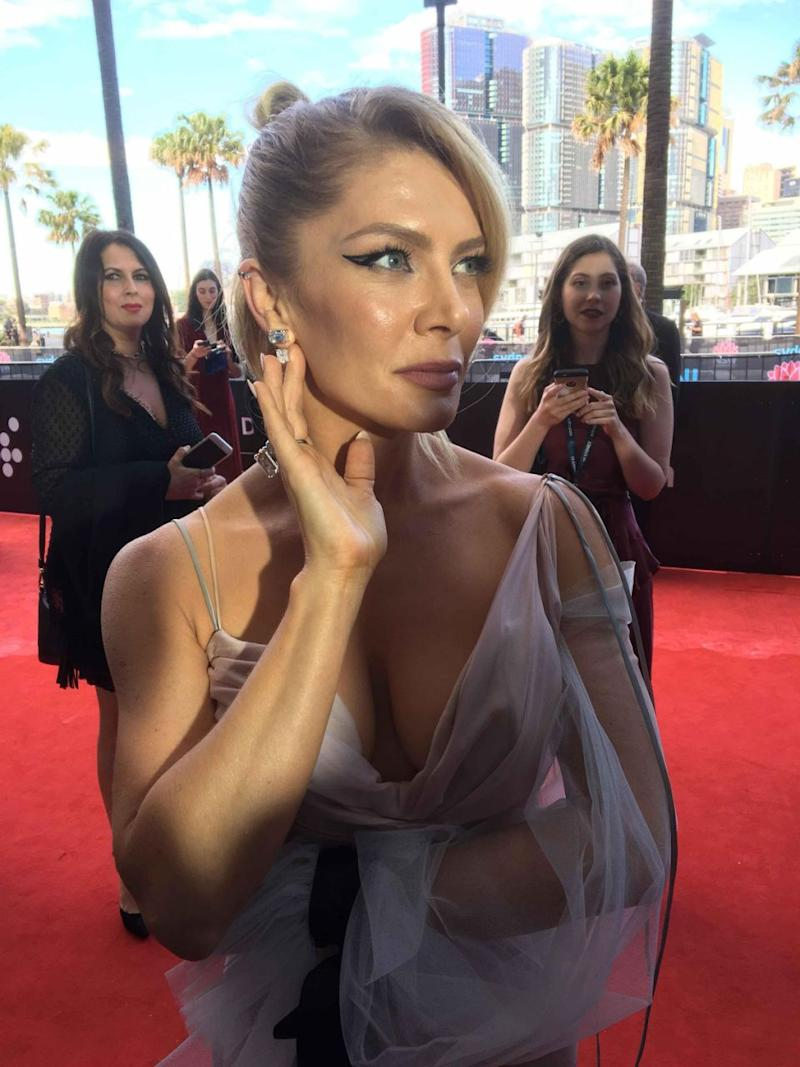 Natalie Bassingthwaighte revealed on the red carpet her earrings were worth $500,000. Source: Supplied