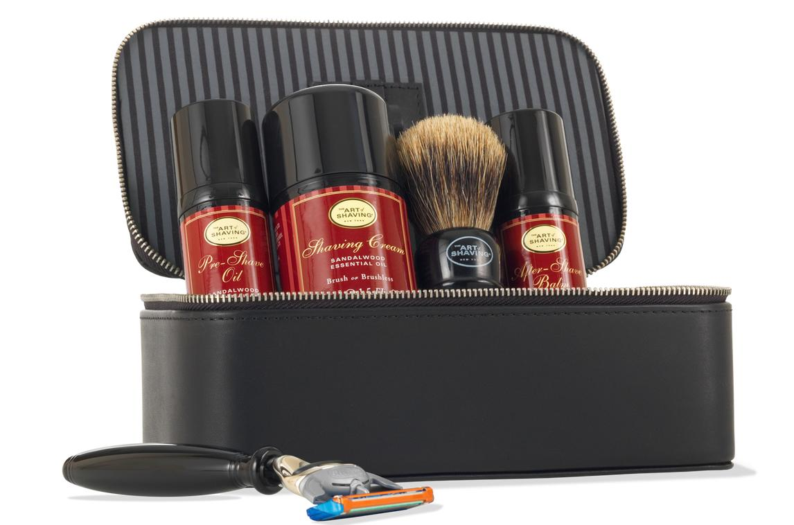 """<p>For the dad who's always going on business trips, this travel kit will help him make sure his shave routine is consistent. The sandalwood is a comforting scent to remind him of home. <b><a href=""""http://www.theartofshaving.com/Sandalwood-Travel-Kit-with-Black-Compact-Fusion-Razor/PG_00670535710707,default,pd.html?cgid=kits-and-gifts#start=1"""">The Art of Shaving Sandalwood Travel Kit with Black Compact Fusion Razor</a> ($175)</b></p>"""