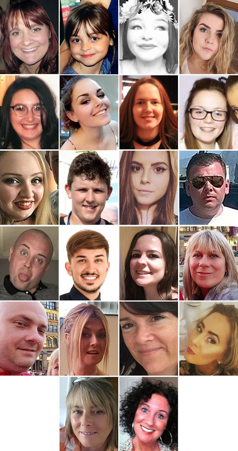 Undated handout file photos issued by Greater Manchester Police of the 22 victims of the terror attack during the Ariana Grande concert at the Manchester Arena in May 2017. (top row left to right) Off-duty police officer Elaine McIver, 43, Saffie Roussos, 8, Sorrell Leczkowski, 14, Eilidh MacLeod, 14, (second row left to right) Nell Jones, 14, Olivia Campbell-Hardy, 15, Megan Hurley, 15, Georgina Callander, 18, (third row left to right), Chloe Rutherford,17, Liam Curry, 19, Courtney Boyle, 19, and Philip Tron, 32, (fourth row left to right) John Atkinson, 26, Martyn Hett, 29, Kelly Brewster, 32, Angelika Klis, 39, (fifth row left to right) Marcin Klis, 42, Michelle Kiss, 45, Alison Howe, 45, and Lisa Lees, 43 (fifth row left to right) Wendy Fawell, 50 and Jane Tweddle, 51.