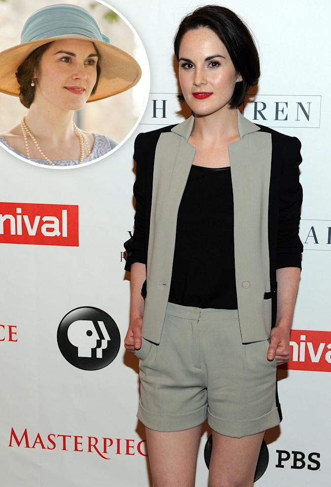 "Michelle Dockery arrives at the ""Downton Abbey"" photo call at The Beverly Hilton Hotel on August 6, 2013 in Beverly Hills, California."