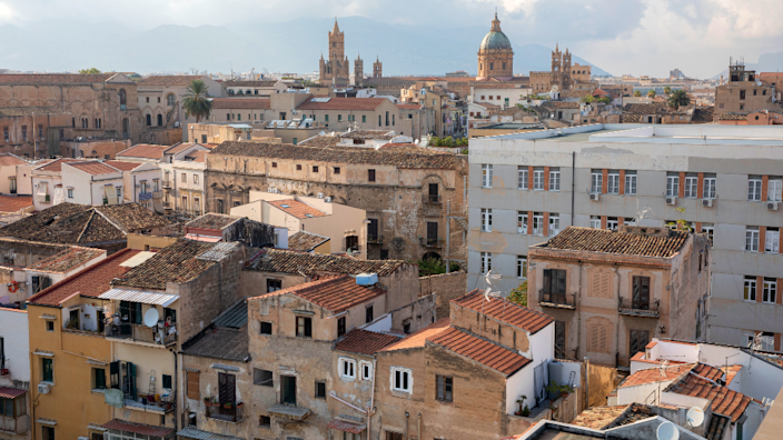 Aerial view of the multicultural neighbourhood of Ballarò in Palermo, Sicily, Italy