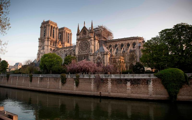 Notre-Dame cathedral in Paris, in the wake of Monday's devastating fire - AFP