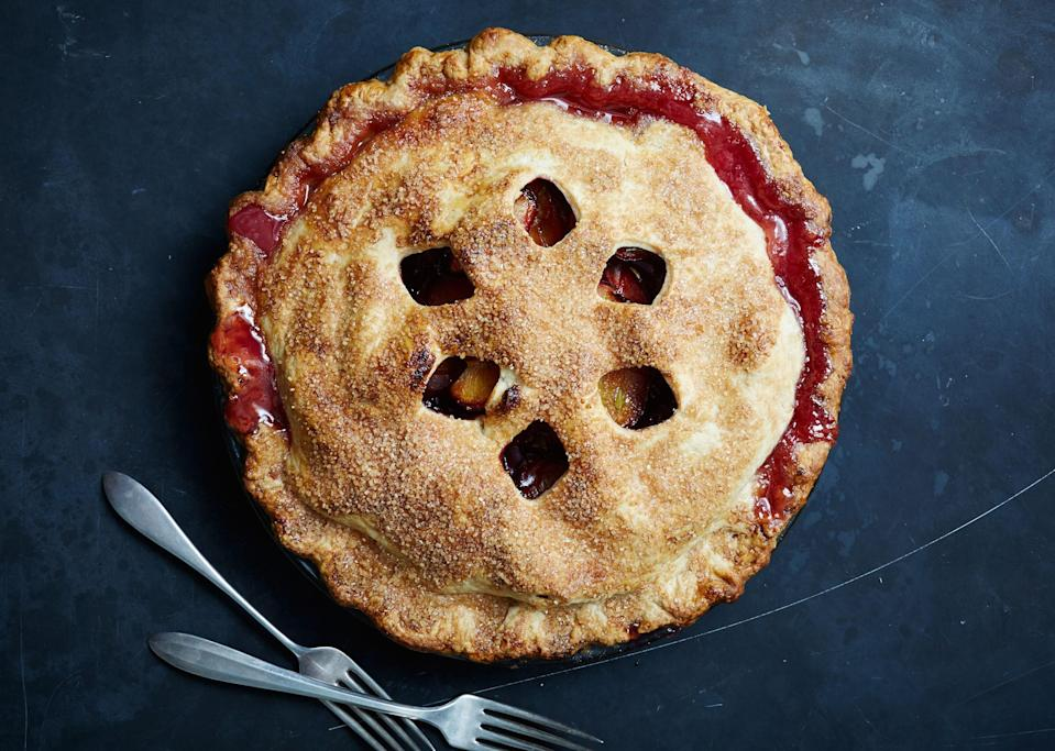 """Make sure to isolate your cut-outs toward the center of the top crust. If they're too close to the edge, the pie juices will bubble up and prevent the edges from browning. <a href=""""https://www.bonappetit.com/recipe/plum-thyme-cut-pie?mbid=synd_yahoo_rss"""" rel=""""nofollow noopener"""" target=""""_blank"""" data-ylk=""""slk:See recipe."""" class=""""link rapid-noclick-resp"""">See recipe.</a>"""