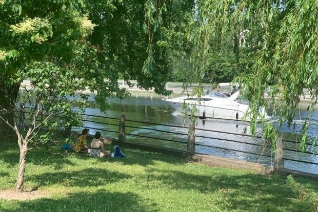 People take refuge from the heat in the shade of a tree along the Rideau Canal. Ottawa is reporting 15 new cases of COVID-19 on Tuesday. (Joseph Tunney/CBC - image credit)