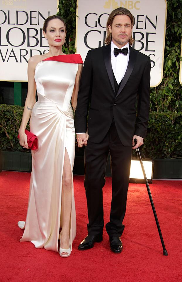 Angelina Jolie and Brad Pitt arrive at the 69th Annual Golden Globe Awards in Beverly Hills, California, on January 15.