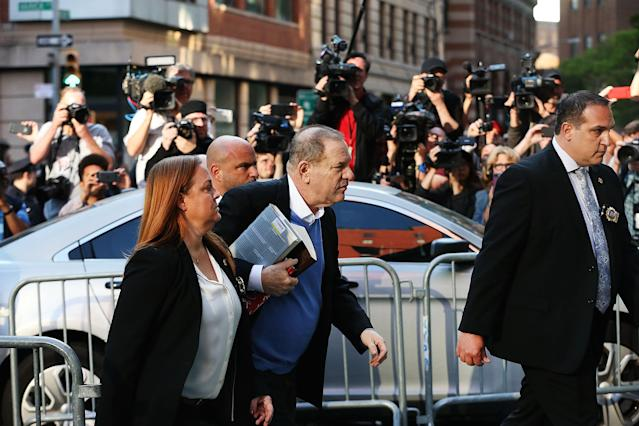<p>Harvey Weinstein arrives at the New York Police Department's First Precinct to turn himself in after being served with criminal charges by the Manhattan District Attorney's office on May 25, 2018 in New York City. (Photo: Spencer Platt/Getty Images) </p>