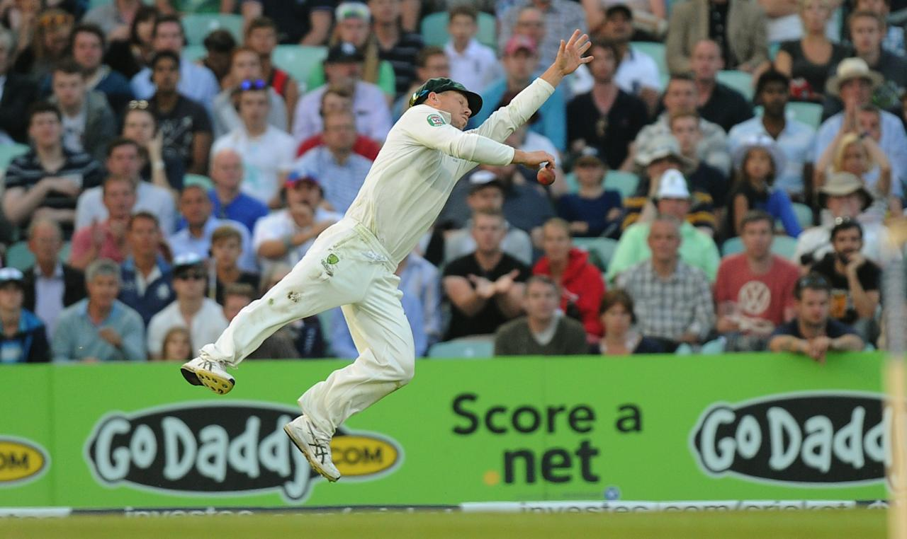 Australia's David Warner misses a catch from England's Chris Woakes during day five of the Fifth Investec Ashes Test match at The Kia Oval, London.
