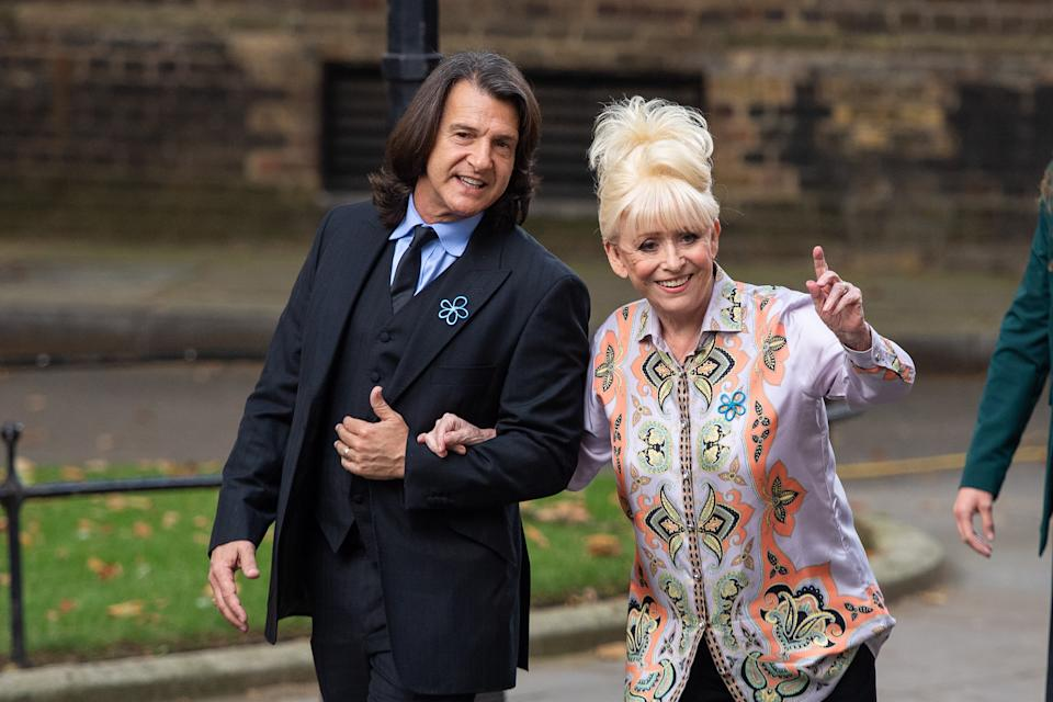Dame Barbara Windsor and her husband Scott Mitchell arrive to deliver an Alzheimer's Society open letter to 10 Downing Street in Westminster, London, calling on Prime Minister Boris Johnson to address the