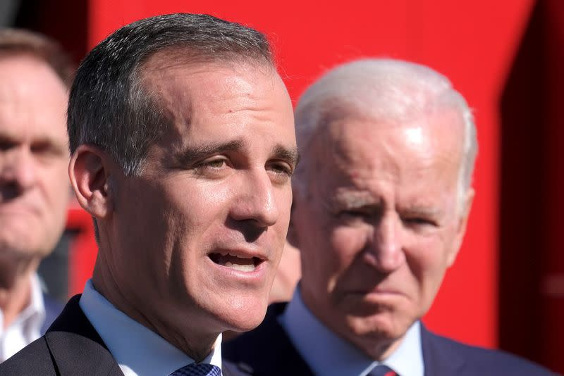 Democratic 2020 U.S. presidential candidate Joe Biden visits the United Firefighters of Los Angeles City headquarters