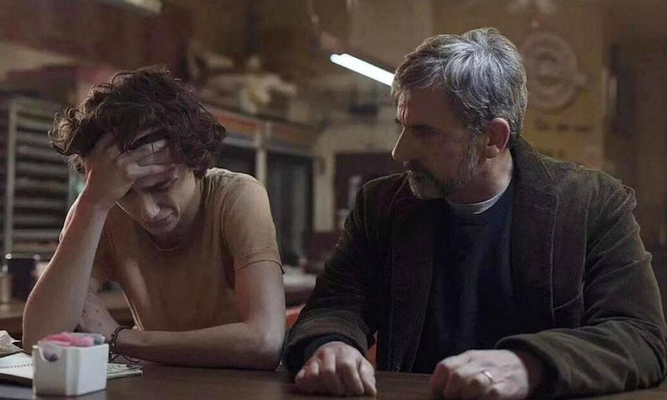 <p>Timothee Chalamet plays young drug addict Nic Shef and Steve Carell his journalist father David trying to get his boy into recovery. Based on the memoirs of both father and son. </p>
