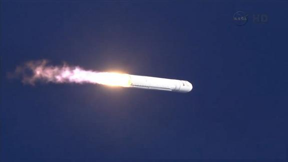 The first private Antares rocket built by Orbital Sciences Corp. launches toward space from NASA's Wallops Flight Facility in Wallops Island, Va., on April 21, 2013. It marks the 1st flight test for the rocket.