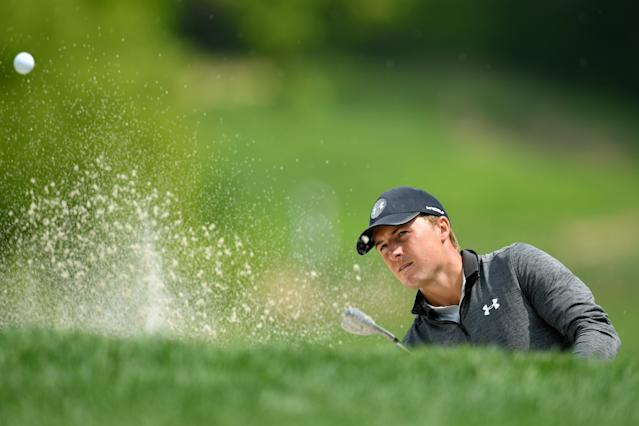 Jordan Spieth of the United States plays a shot from a bunker on the third hole during the second round of the 2019 PGA Championship at the Bethpage Black course on May 17, 2019 in Farmingdale, New York. (Photo by Stuart Franklin/Getty Images)