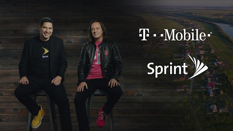 T-Mobile CEO Marcelo Claure and Sprint CEO John Legere next to both company logos