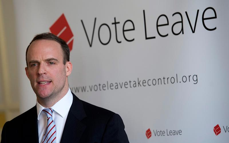 Brexit Secretary Dominic Raab during the Brexit vote campaign - Will Oliver/EPA