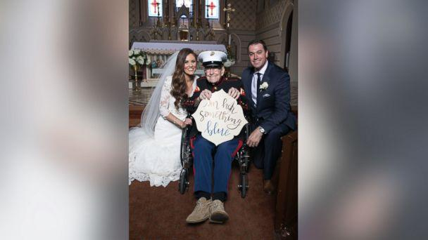 PHOTO: Alison Ferrell's 92-year-old uncle, Bill Lee Eblen, served as her 'something blue' in his Marine dress blues at her May 13 wedding. (Claire Bira/Imageclairity.com)
