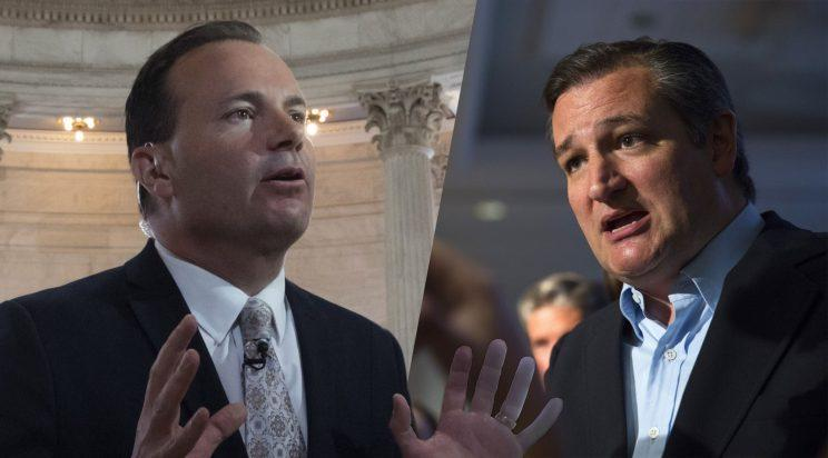 Sen. Mike Lee, R-Utah and Sen. Ted Cruz, R-TX discusses issues with concerned citizens after holding a town hall meeting on July 6, 2017 in Austin, Texas. (Photos: J. Scott Applewhite/AP, Erich Schlegel/Getty Images)