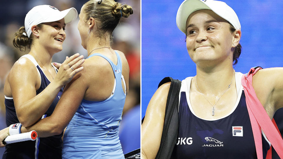Shelby Rogers, pictured here after beating Ash Barty in the third round at the US Open.