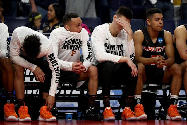 <p>The Princeton Tigers bench reacts after a play in the second half against the Notre Dame Fighting Irish during the first round of the 2017 NCAA Men's Basketball Tournament at KeyBank Center on March 16, 2017 in Buffalo, New York. (Photo by Elsa/Getty Images) </p>