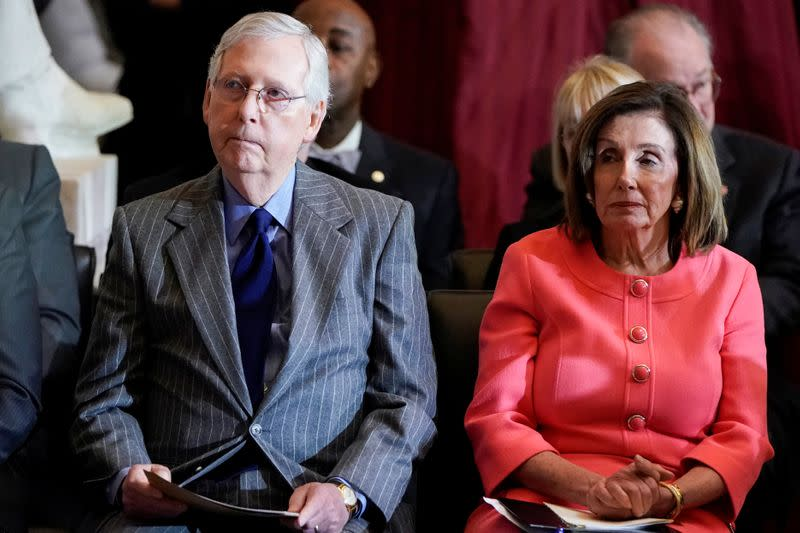 U.S. House Speaker Pelosi and Senate Majority Leader McConnell attend Congressional Gold Medal Award ceremony for Steve Gleason at the U.S. Capitol in Washington