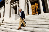 David Card, winner of the 2021 Nobel Prize in economics, walks through University of California, Berkeley campus in Berkeley, Calif., on Monday, Oct. 11, 2021. Card received the award for his research on minimum wages and immigration. (AP Photo/Noah Berger)