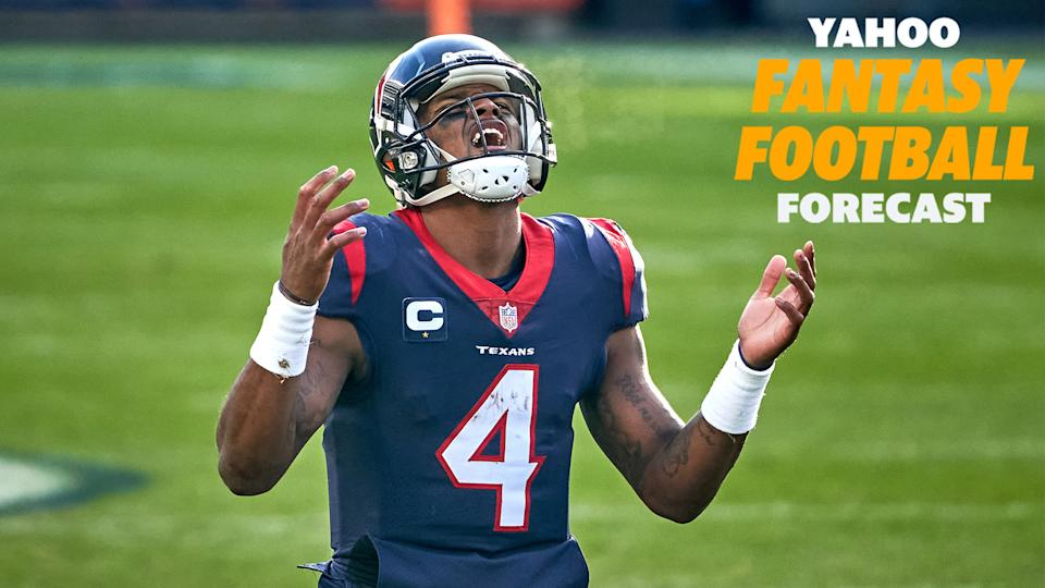 Houston Texans QB Deshaun Watson suits up this weekend against the Indianapolis Colts. How much longer will the star quarterback start in a lost season for Houston? (Photo by Robin Alam/Icon Sportswire via Getty Images)