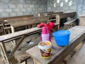 An empty clasroom is seen following a shooting at a school in Kumba