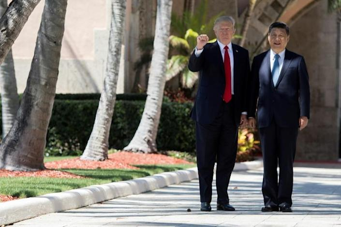 US President Donald Trump hosted his Chinese counterpart Xi Jinping at his Mar-a-Lago resort in Florida in April 2017 (AFP Photo/JIM WATSON)