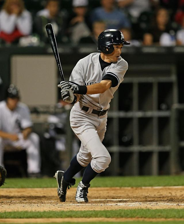 CHICAGO, IL - AUGUST 05: Ichiro Suzuki #31 of the New York Yankees hits a single in the 9th inning against the Chicago White Sox at U.S. Cellular Field on August 5, 2013 in Chicago, Illinois. The White Sox defeated the Yankees 8-1. (Photo by Jonathan Daniel/Getty Images)