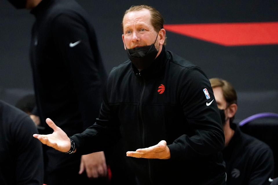 Toronto Raptors head coach Nick Nurse questions a foul call during a game against the Utah Jazz.