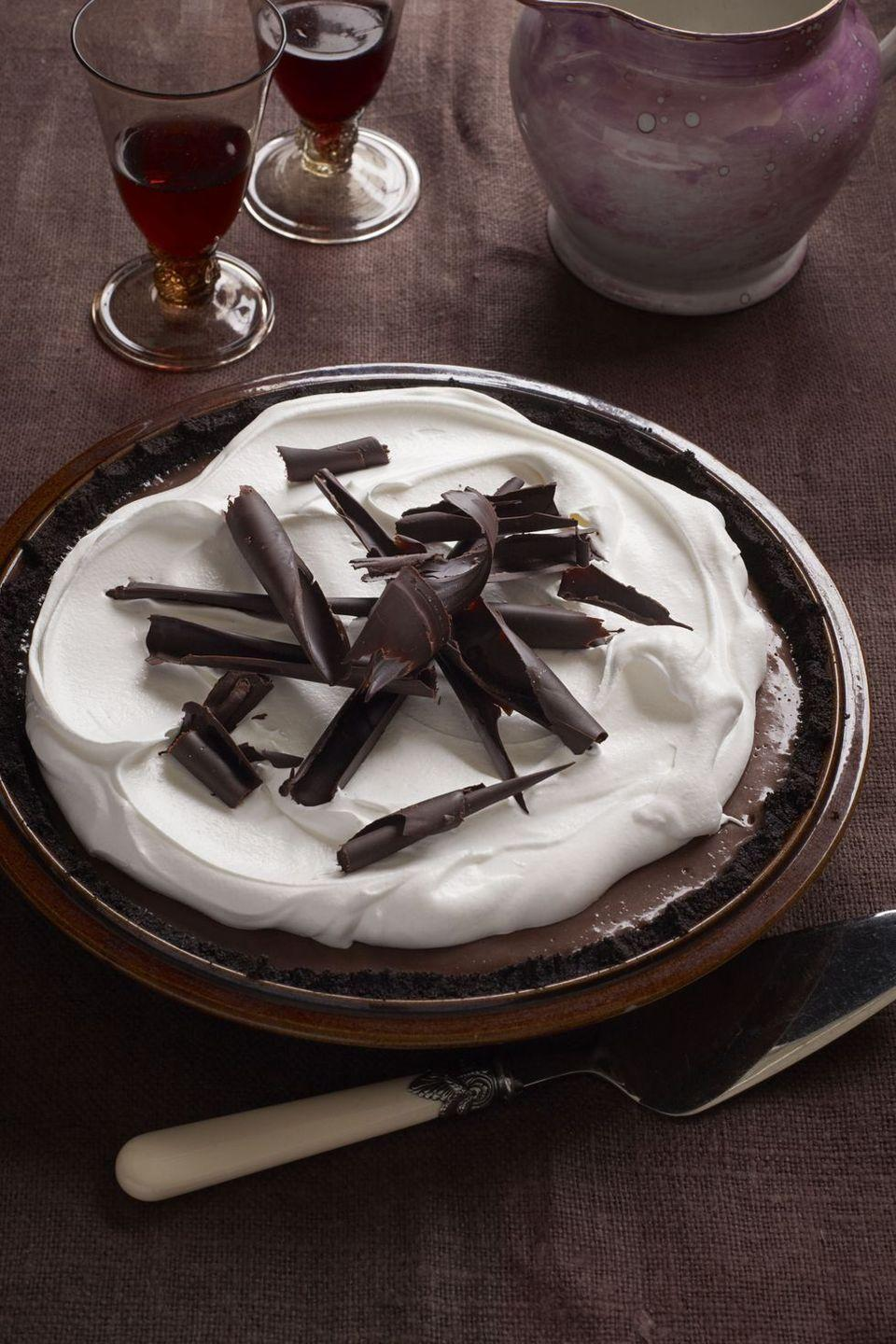 """<p>Chocolate cookie crust and chocolate custard — what more could a chocolate-lover want?</p><p><em><a href=""""https://www.goodhousekeeping.com/food-recipes/a13984/black-bottom-chocolate-cream-pie-recipe-ghk0212/"""" rel=""""nofollow noopener"""" target=""""_blank"""" data-ylk=""""slk:Get the recipe for Black-Bottom Chocolate Cream Pie »"""" class=""""link rapid-noclick-resp"""">Get the recipe for Black-Bottom Chocolate Cream Pie »</a></em></p>"""