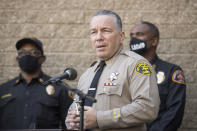 Los Angeles County Sheriff Alejandro Villanueva speaks during a press conference in front of Sheriff Department building in Lomita, Calif., Tuesday, Feb. 23, 2021, regarding golfer Tiger Woods' car accident. (AP Photo/Kyusung Gong)