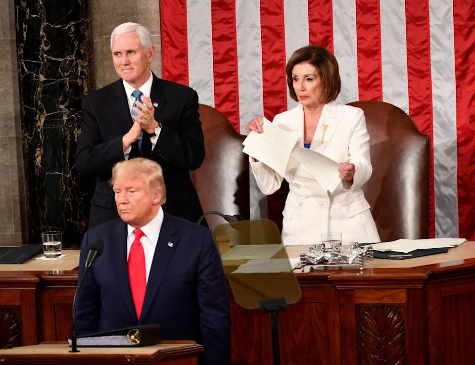 Speaker of the House Nancy Pelosi rips up the speech after President Donald J. Trump concludes delivering the State of the Union address from the House chamber of the United States Capitol in Washington on Feb 4, 2020.