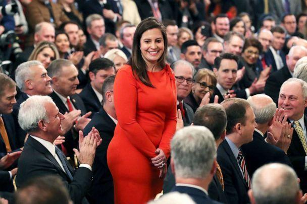 PHOTO:  Rep. Elise Stefanik stands as she's acknowledged by President Donald Trump as he speaks in the East Room of the White House Feb. 6, 2020. (Mark Wilson/Getty Images, FILE)