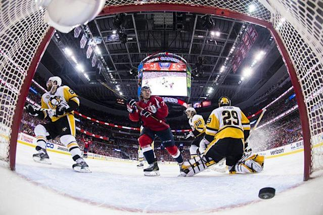 WASHINGTON, DC – MAY 06: Nicklas Backstrom #19 of the Washington Capitals (not pictured) scores a third period goal against Marc-Andre Fleury #29 of the Pittsburgh Penguins in Game Five of the Eastern Conference Second Round during the 2017 NHL Stanley Cup Playoffs at Verizon Center on May 6, 2017 in Washington, DC. (Photo by Patrick McDermott/NHLI via Getty Images)