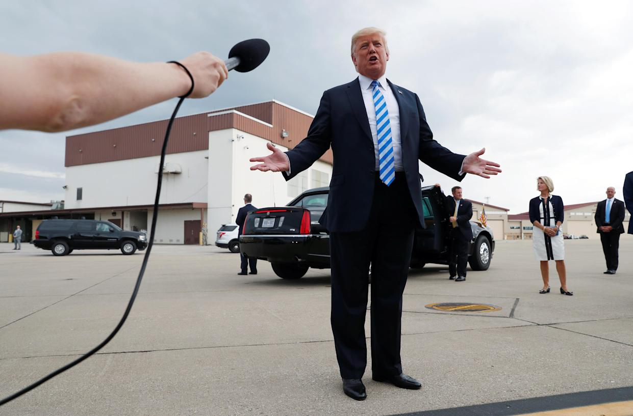 President Trump speaks to the news media about the conviction of his former presidential campaign chairman Paul Manafort, Aug. 21, 2018. (Photo: Leah Millis/Reuters)